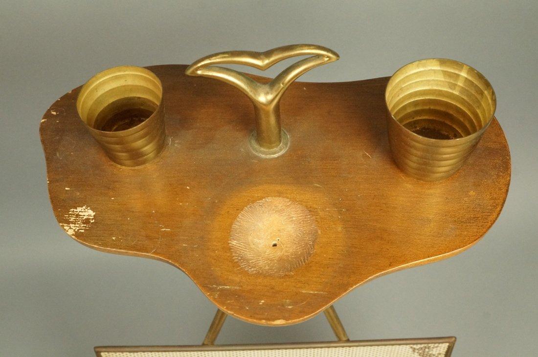 Modernist Wood & Brass Tripod Smoking Stand Magaz - 2