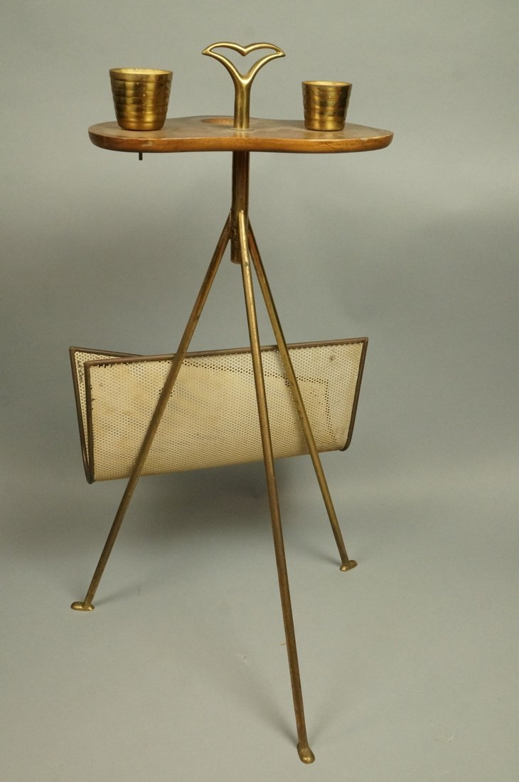 Modernist Wood & Brass Tripod Smoking Stand Magaz - 5