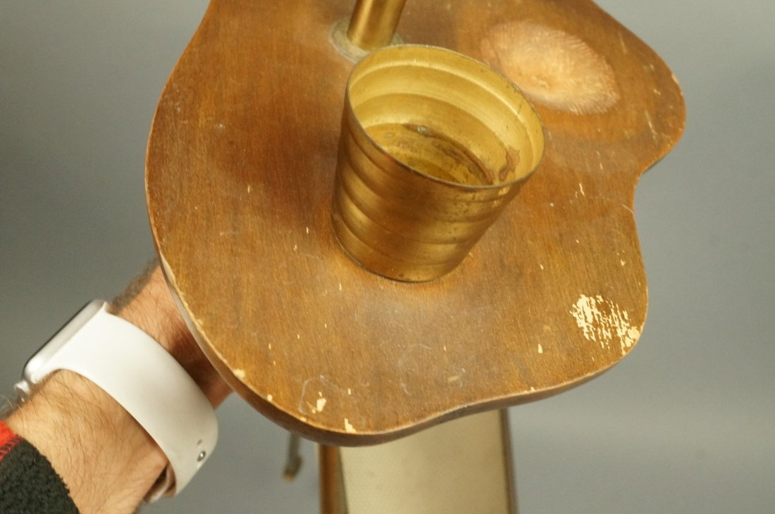 Modernist Wood & Brass Tripod Smoking Stand Magaz - 8