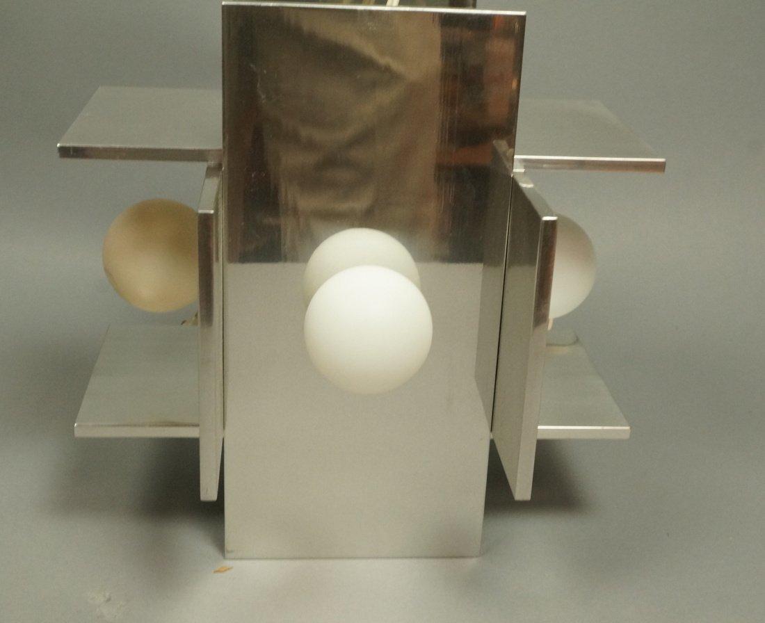 Small Modernist Stainless Hanging Pendant Light.
