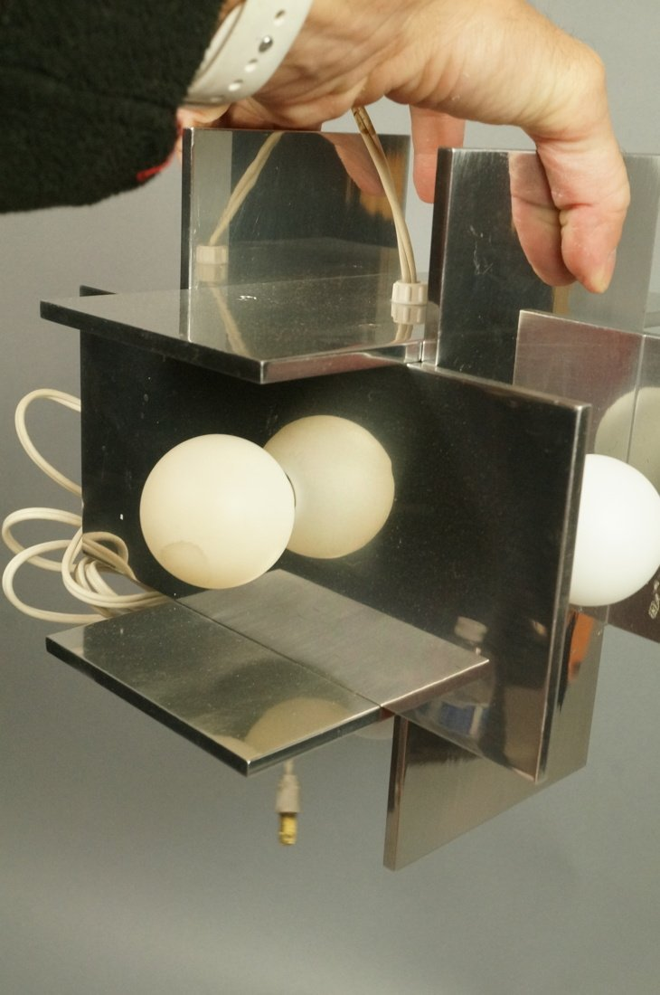 Small Modernist Stainless Hanging Pendant Light. - 4