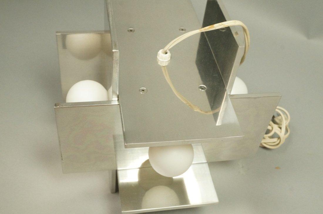 Small Modernist Stainless Hanging Pendant Light. - 5