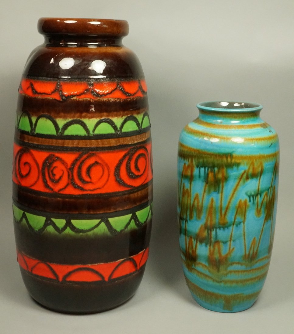 2pc Large Pottery German Vases Vessels. Tallest h