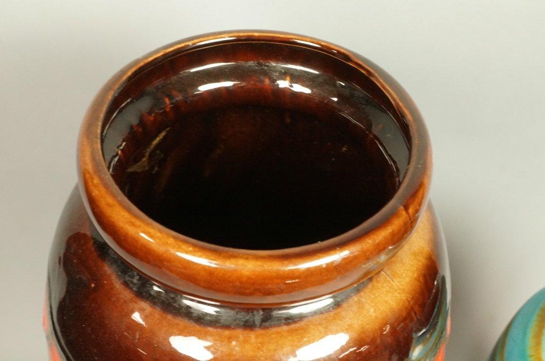 2pc Large Pottery German Vases Vessels. Tallest h - 2