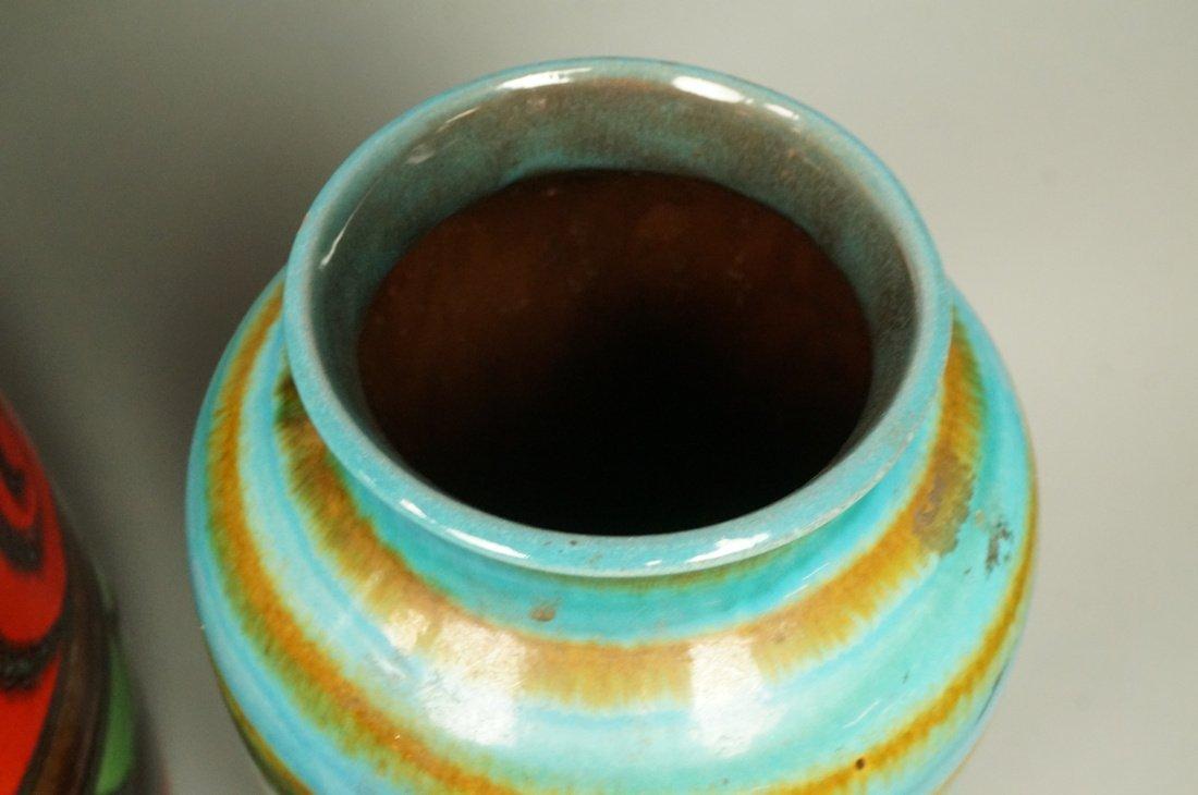 2pc Large Pottery German Vases Vessels. Tallest h - 3