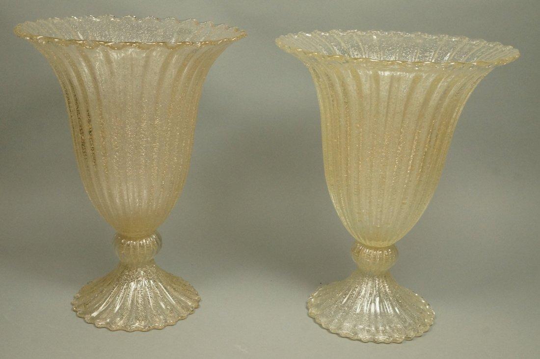 Pr Murano Art Glass Trumpet form Vases. Footed va