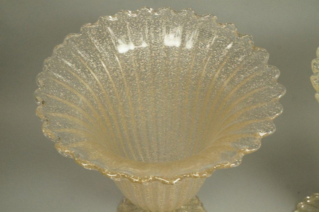 Pr Murano Art Glass Trumpet form Vases. Footed va - 2