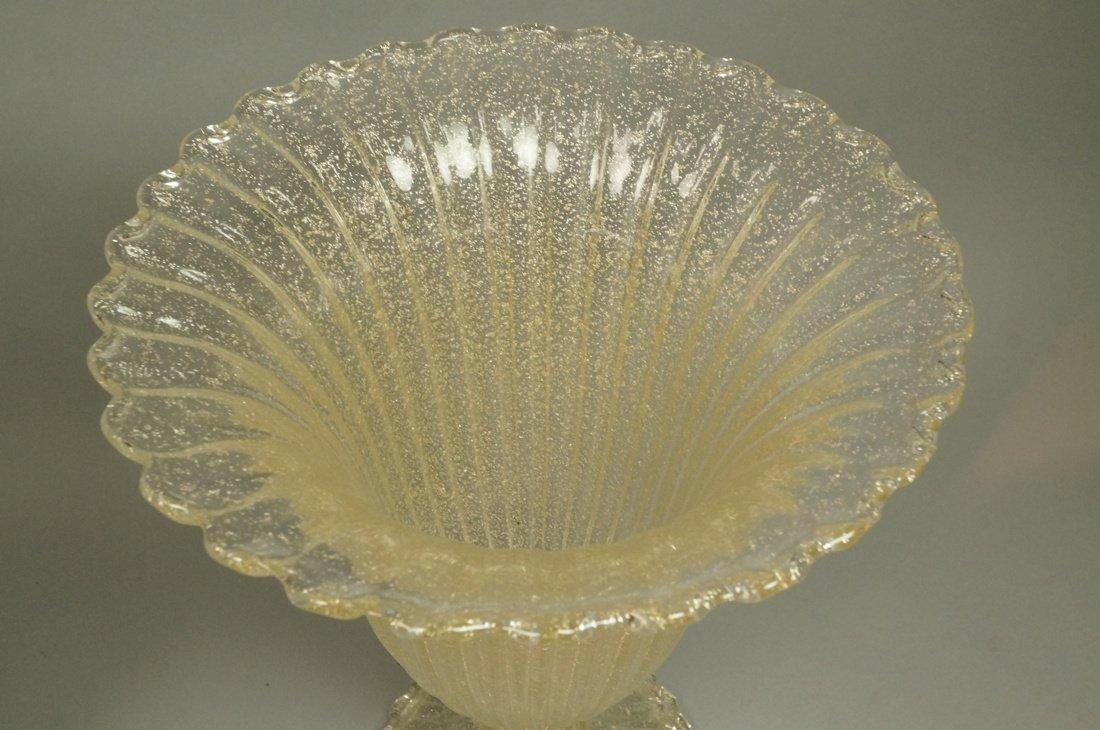 Pr Murano Art Glass Trumpet form Vases. Footed va - 3