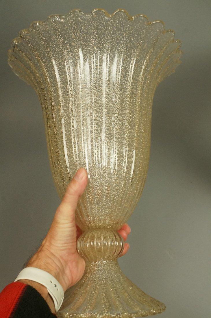 Pr Murano Art Glass Trumpet form Vases. Footed va - 6