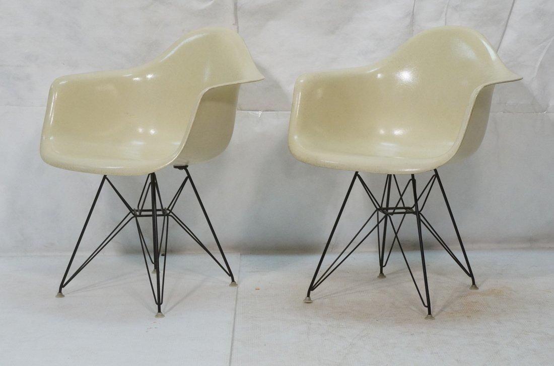Pr CHARLES EAMES Fiberglass Shell Lounge Chair. H