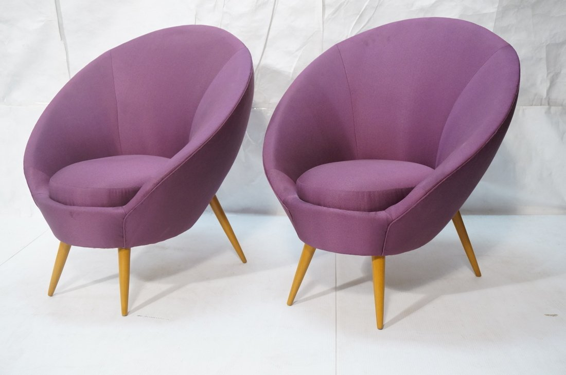 Pr Modernist High Back Lounge Chairs. Purple fabr