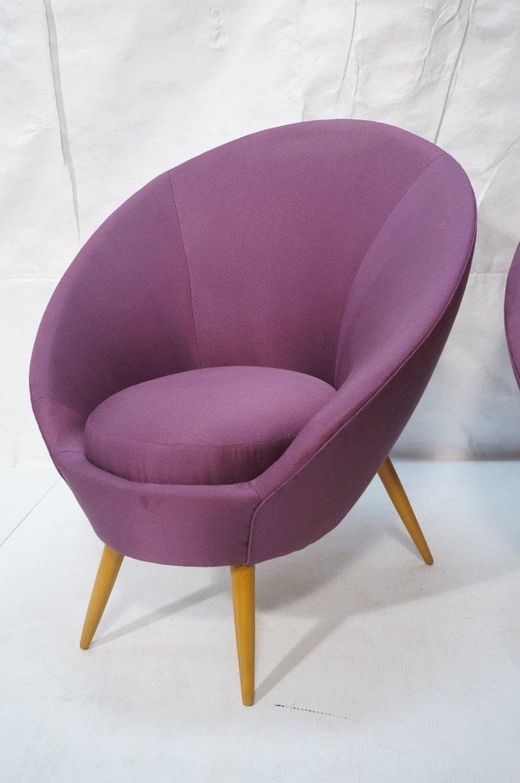 Pr Modernist High Back Lounge Chairs. Purple fabr - 2