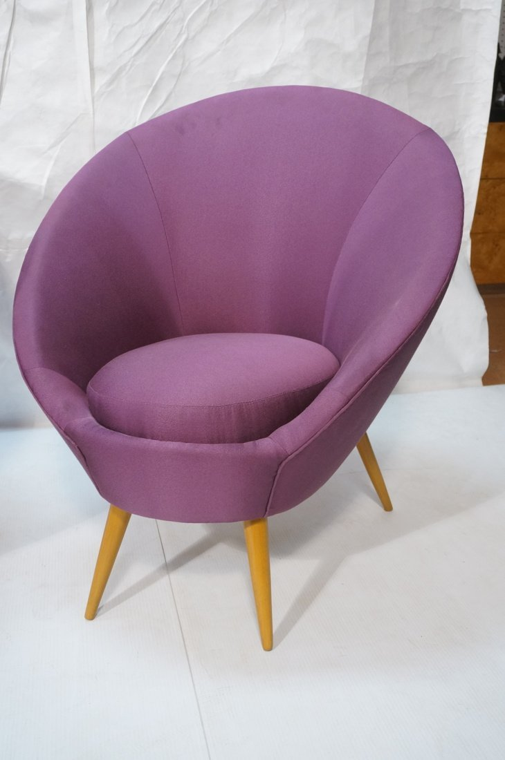Pr Modernist High Back Lounge Chairs. Purple fabr - 3
