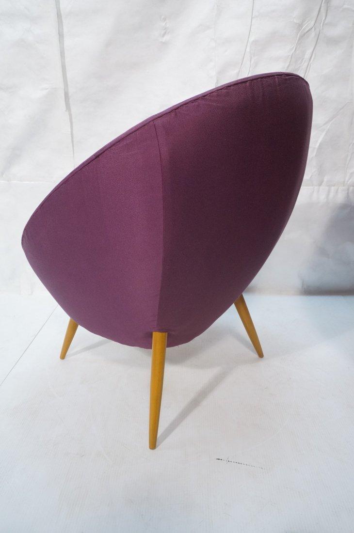 Pr Modernist High Back Lounge Chairs. Purple fabr - 4