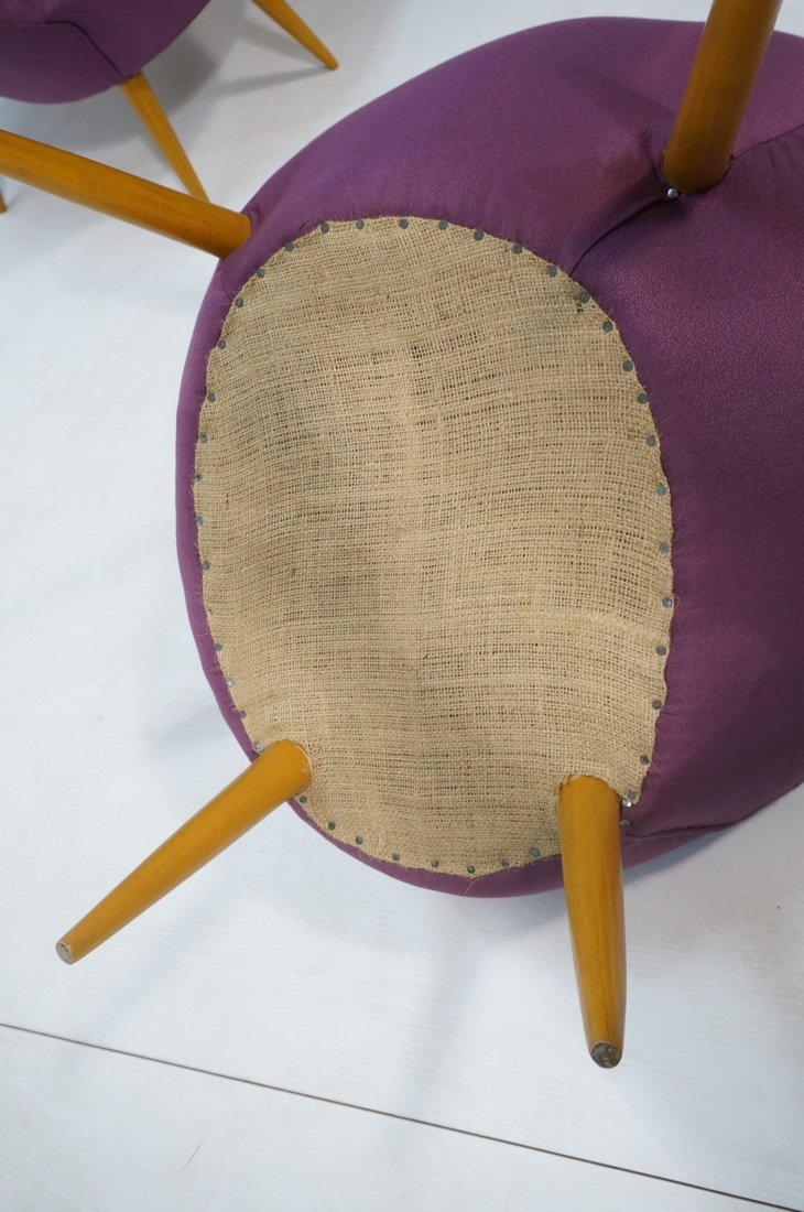 Pr Modernist High Back Lounge Chairs. Purple fabr - 6
