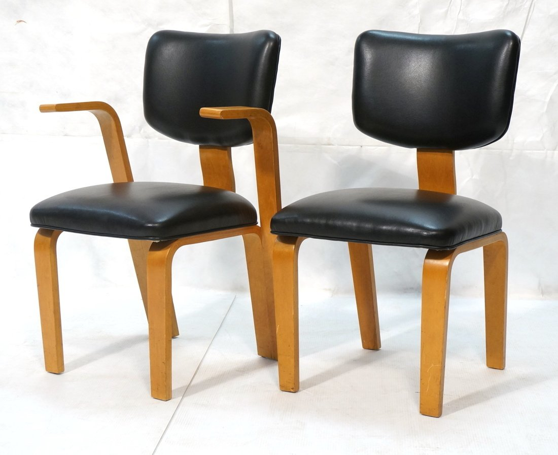Pr THONET Molded Wood Side Arm Chairs. Modernist