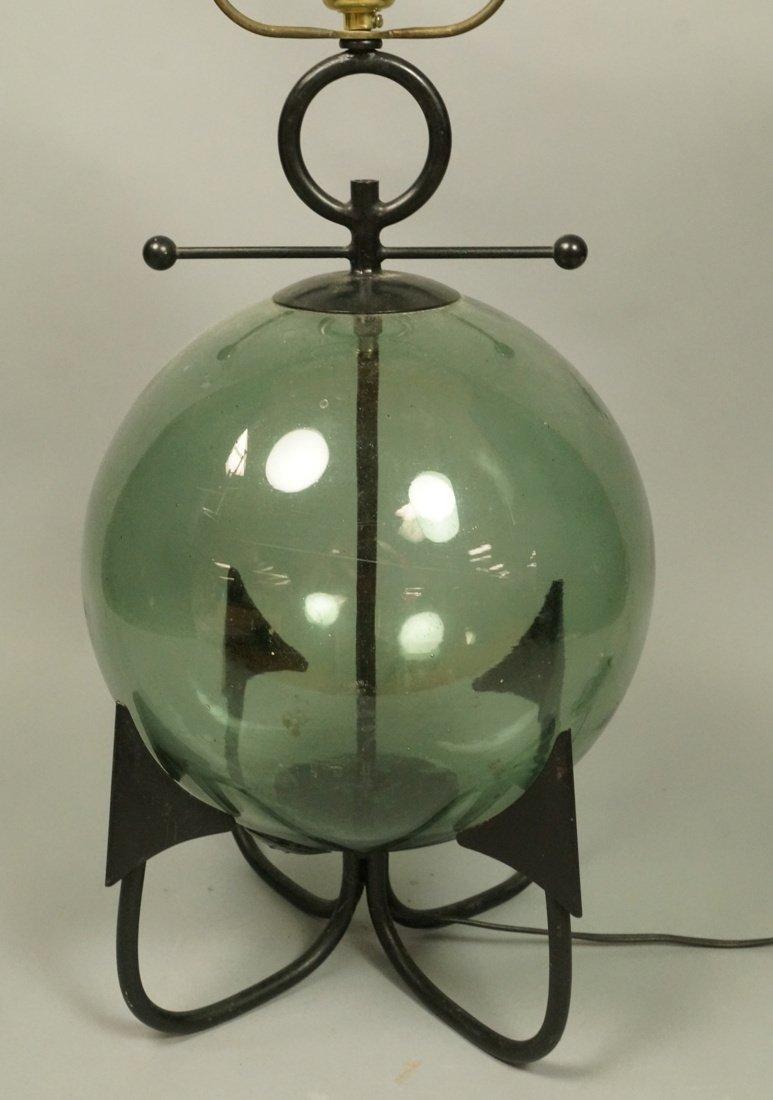 Modernist Black Iron Anchor Lamp. Blue Blown Glas