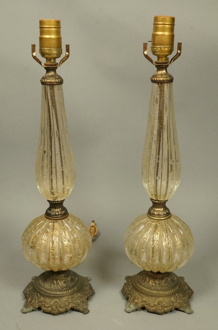 Pr Murano Italian Teardrop Art Glass Table Lamps.