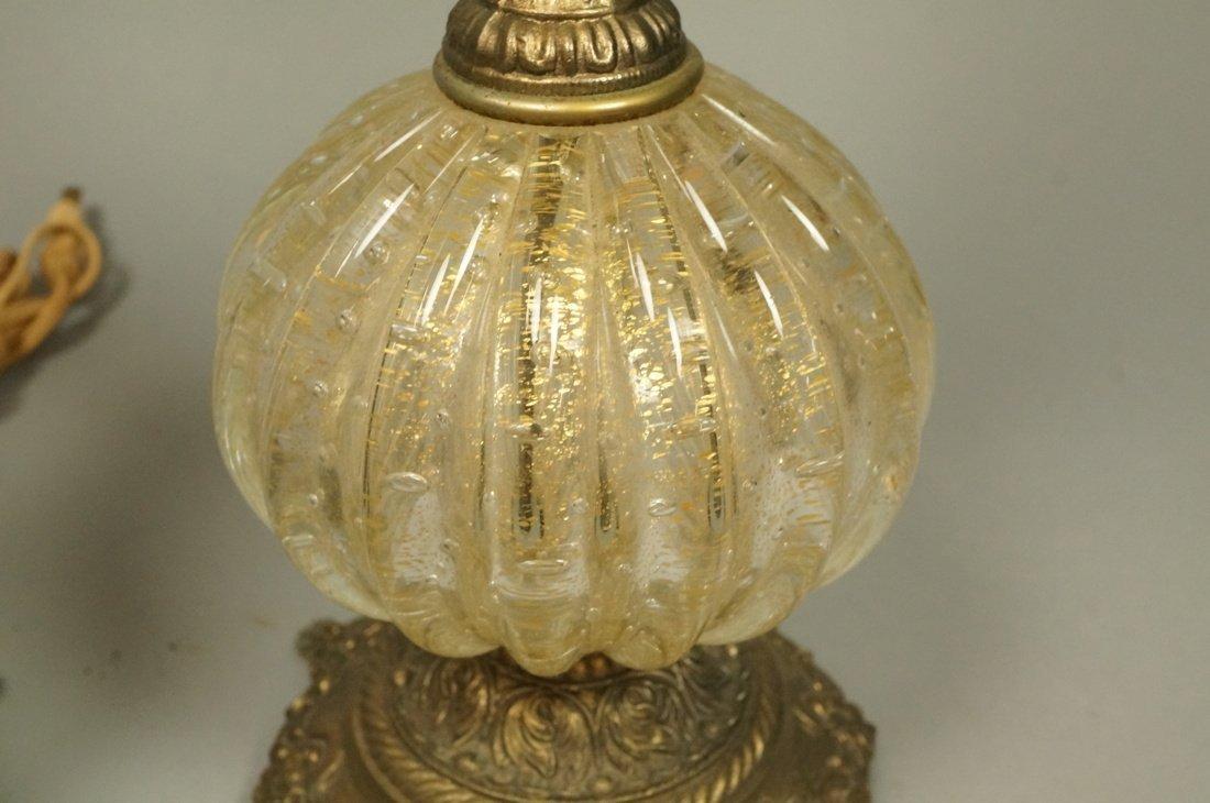 Pr Murano Italian Teardrop Art Glass Table Lamps. - 3