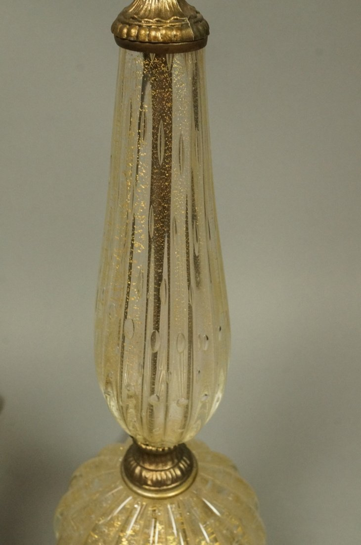Pr Murano Italian Teardrop Art Glass Table Lamps. - 6