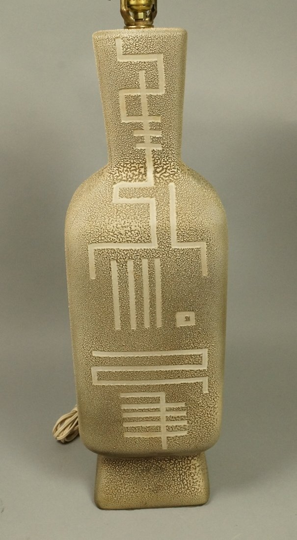 Large Textured Pottery Modernist Lamp. Calligraph