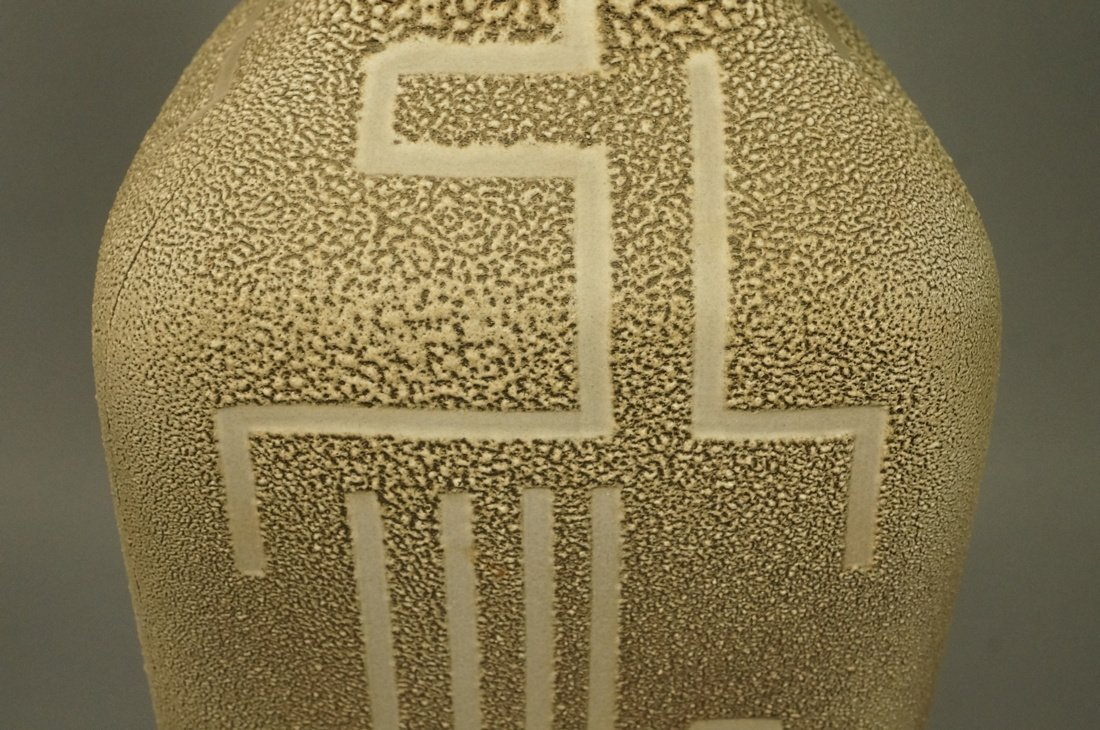 Large Textured Pottery Modernist Lamp. Calligraph - 3