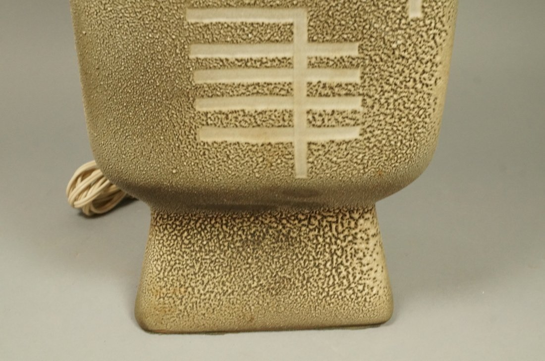 Large Textured Pottery Modernist Lamp. Calligraph - 4