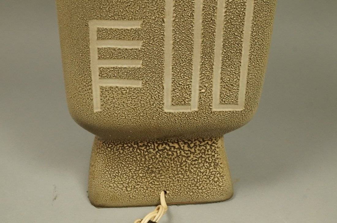 Large Textured Pottery Modernist Lamp. Calligraph - 7