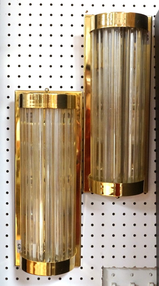 Pr VENINI Glass Rods Wall Sconces. Vertical gold