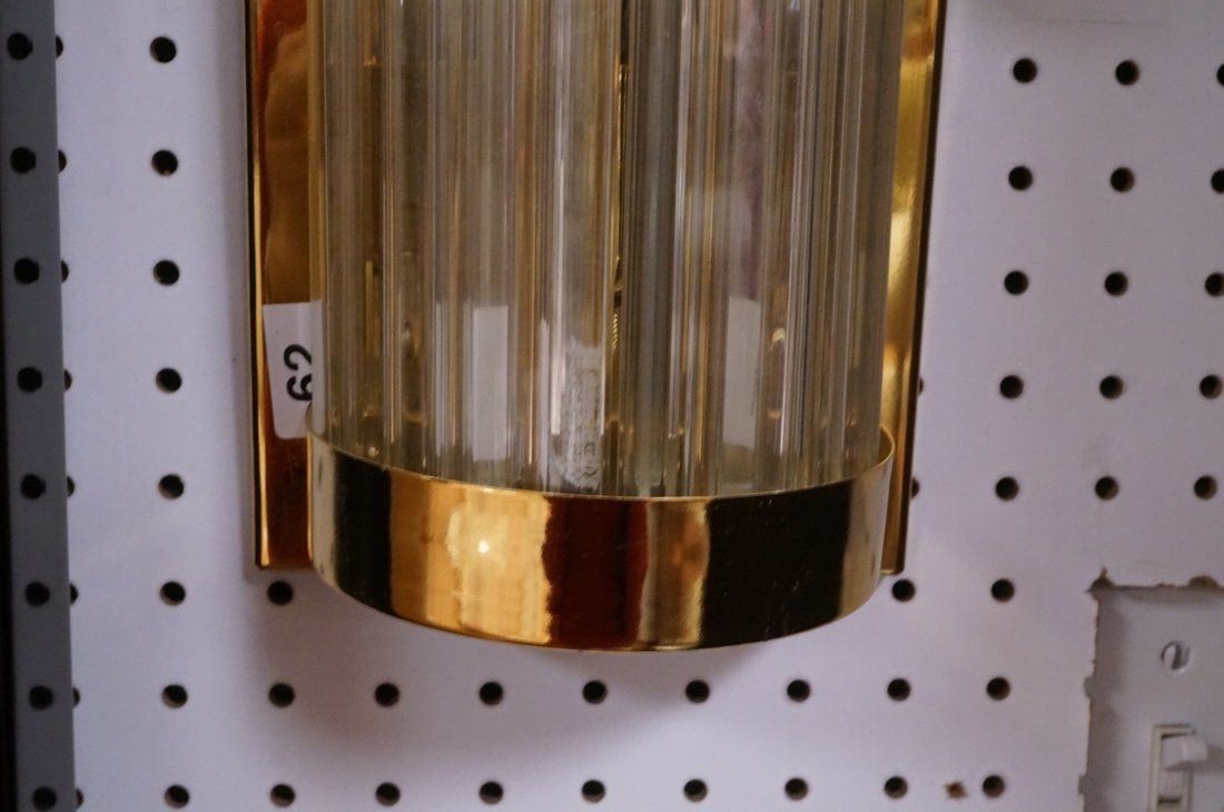 Pr VENINI Glass Rods Wall Sconces. Vertical gold - 4