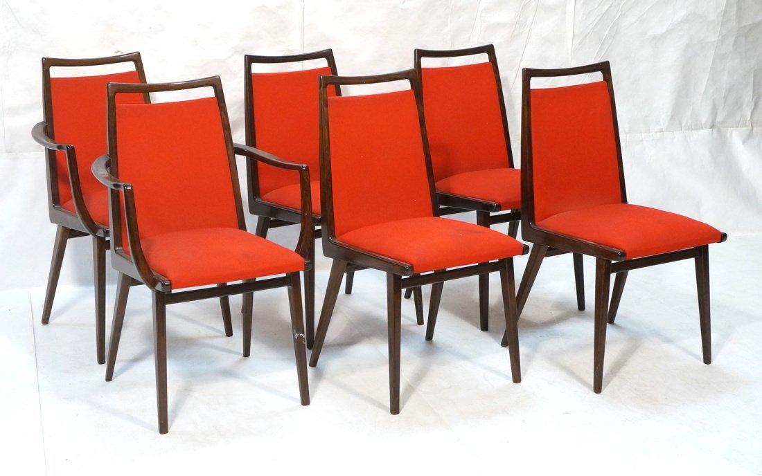 Set 6 Dining Chairs. German Modernist. Dark Wood