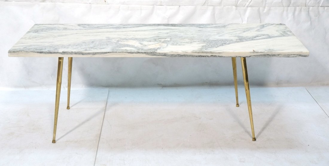 Marble Top Coffee Table. Brass Drumstick Legs.