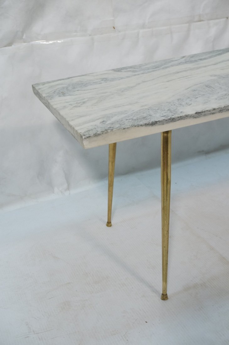Marble Top Coffee Table. Brass Drumstick Legs. - 2