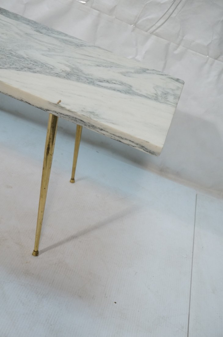 Marble Top Coffee Table. Brass Drumstick Legs. - 4