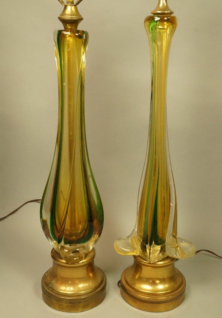 2pcs Murano Art Glass Table Lamps. Pale yellow gl