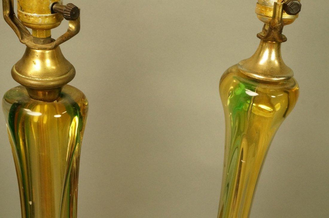 2pcs Murano Art Glass Table Lamps. Pale yellow gl - 2