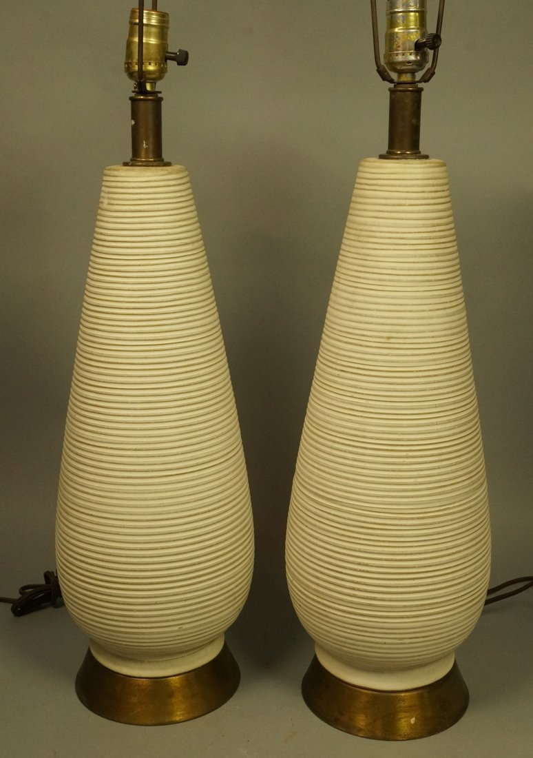 Pr Tall Ribbed Teardrop form Pottery Lamps. Off w