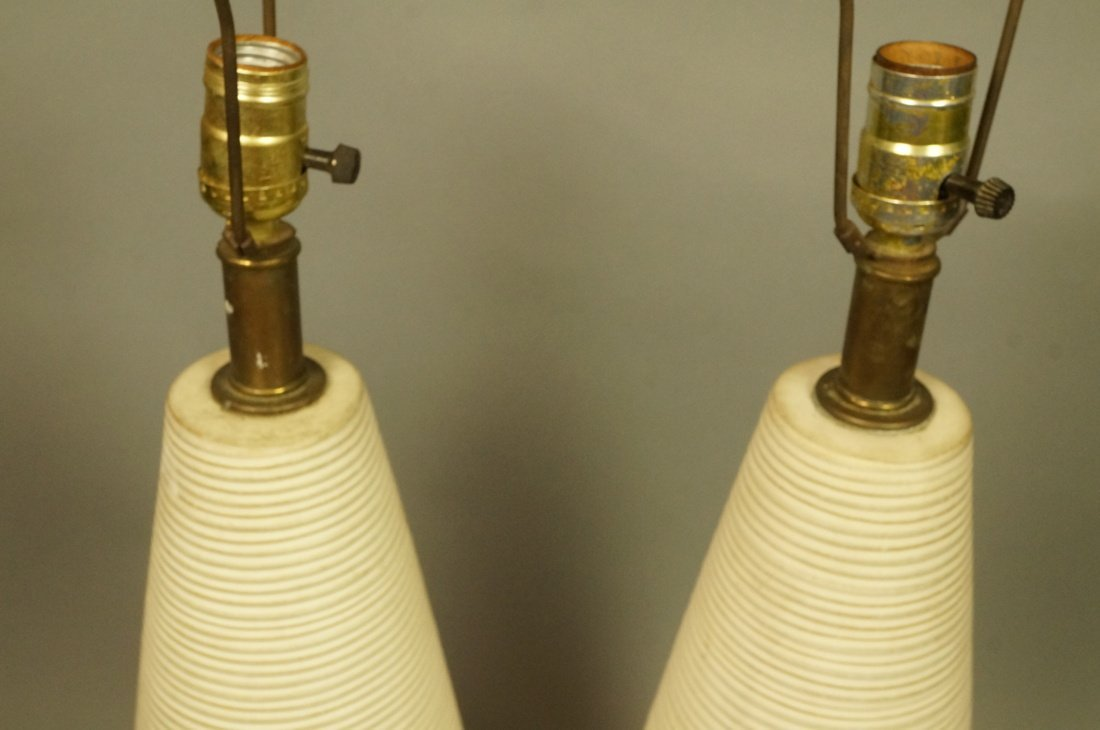 Pr Tall Ribbed Teardrop form Pottery Lamps. Off w - 2
