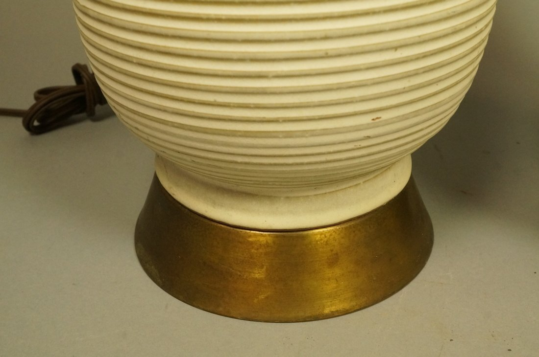 Pr Tall Ribbed Teardrop form Pottery Lamps. Off w - 3