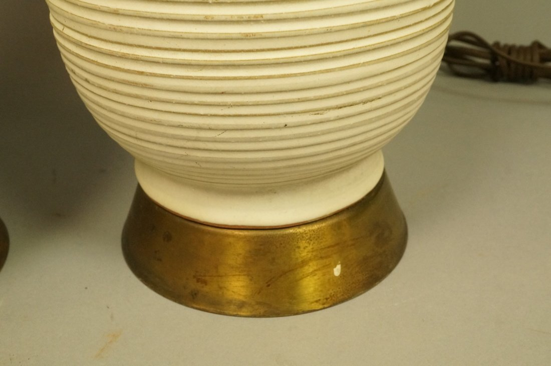 Pr Tall Ribbed Teardrop form Pottery Lamps. Off w - 4