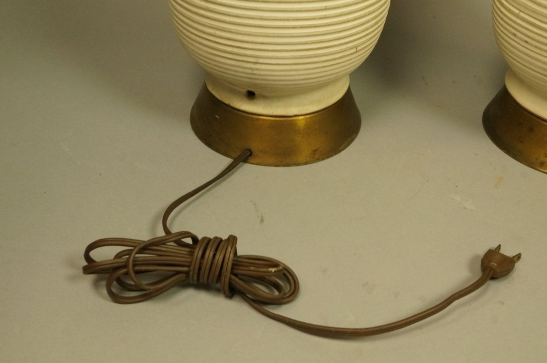 Pr Tall Ribbed Teardrop form Pottery Lamps. Off w - 5