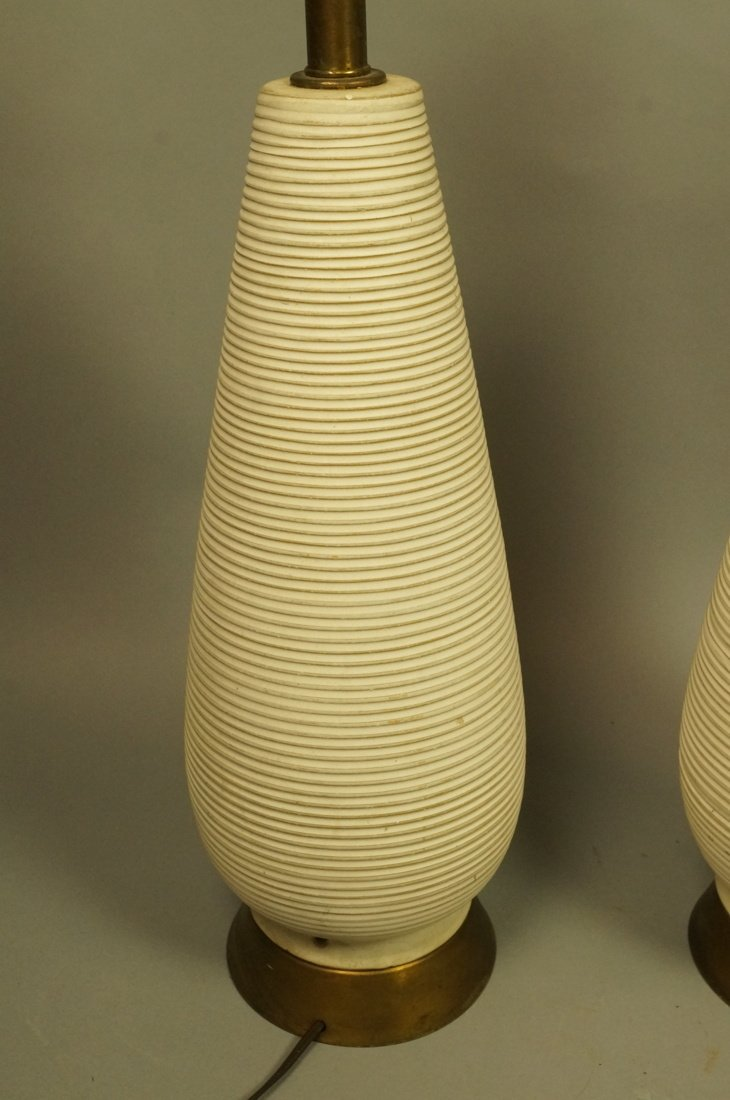 Pr Tall Ribbed Teardrop form Pottery Lamps. Off w - 6