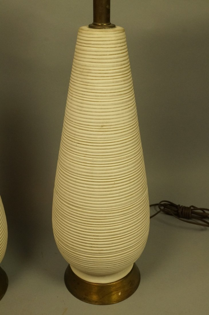Pr Tall Ribbed Teardrop form Pottery Lamps. Off w - 7