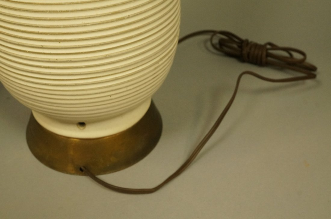 Pr Tall Ribbed Teardrop form Pottery Lamps. Off w - 8