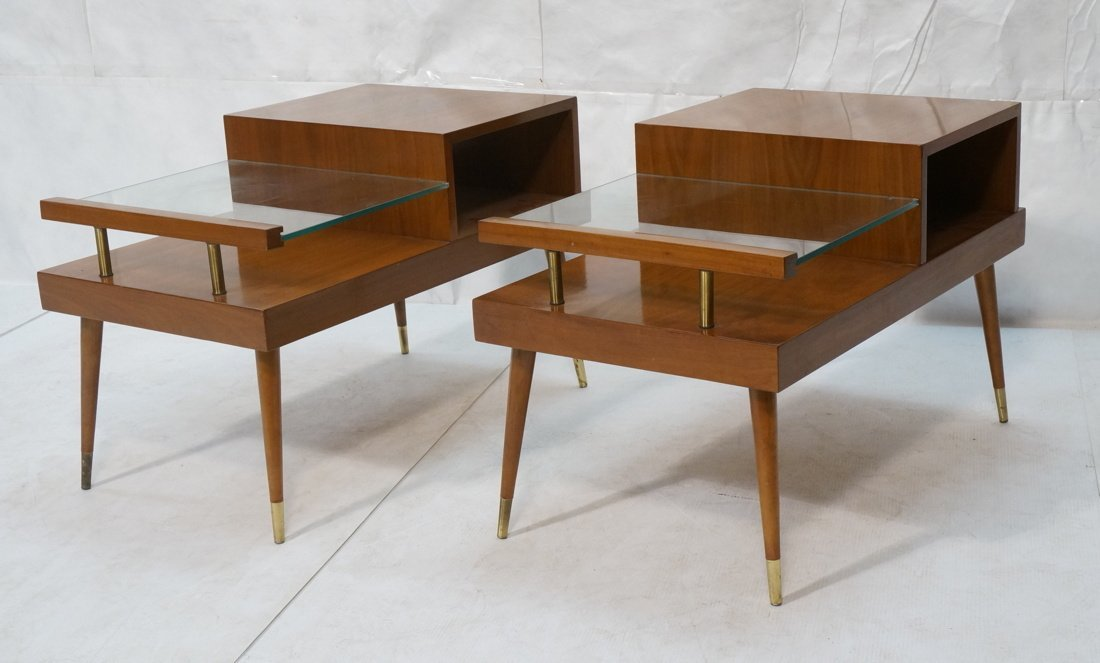 Pr Step Form Side End Tables. Walnut with brass a
