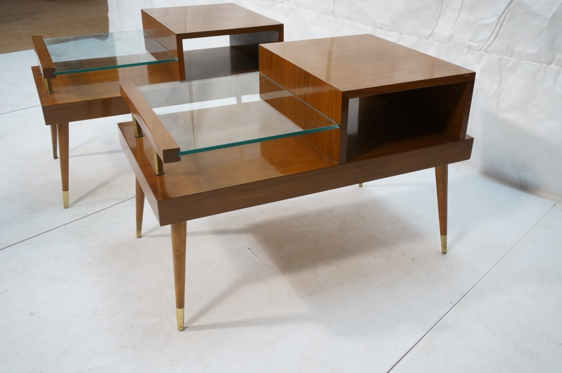 Pr Step Form Side End Tables. Walnut with brass a - 2