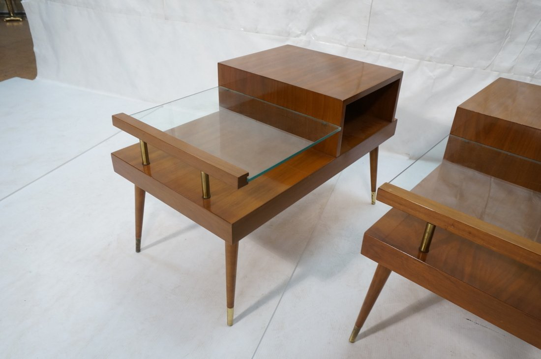 Pr Step Form Side End Tables. Walnut with brass a - 3