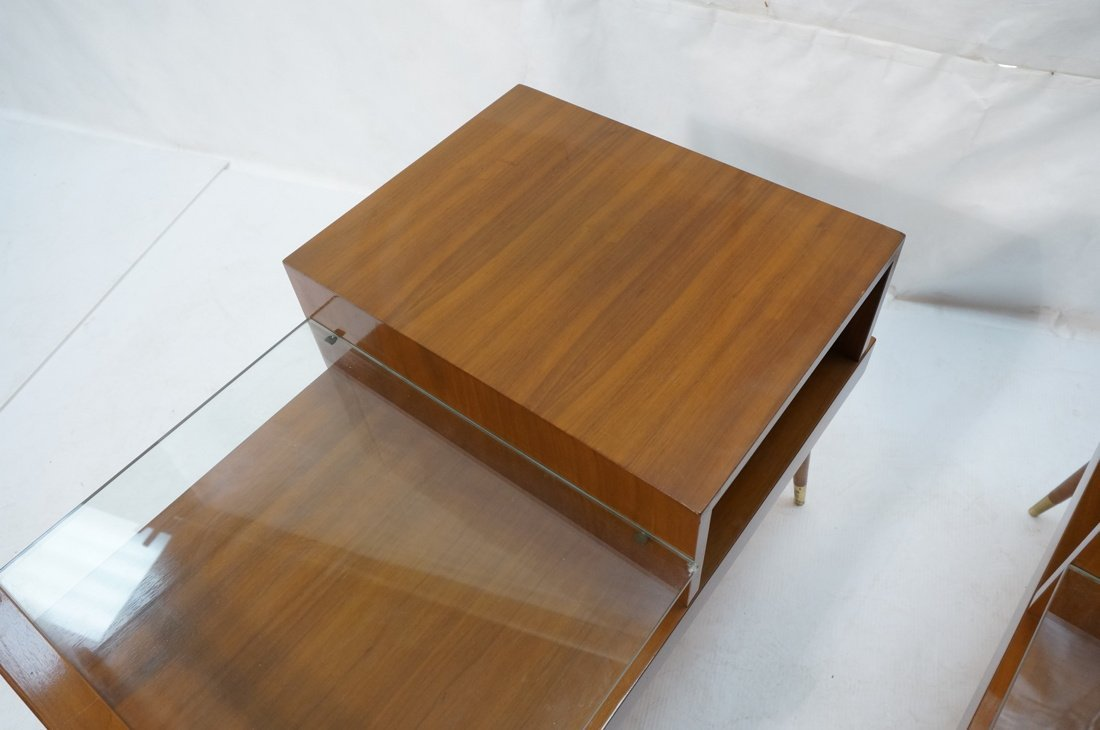 Pr Step Form Side End Tables. Walnut with brass a - 4