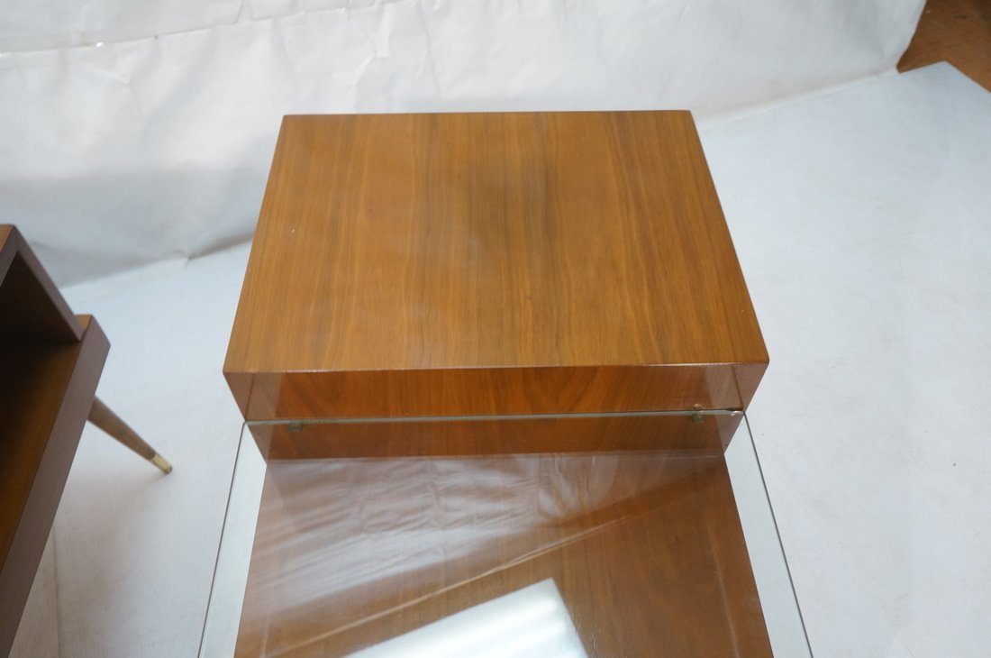 Pr Step Form Side End Tables. Walnut with brass a - 5