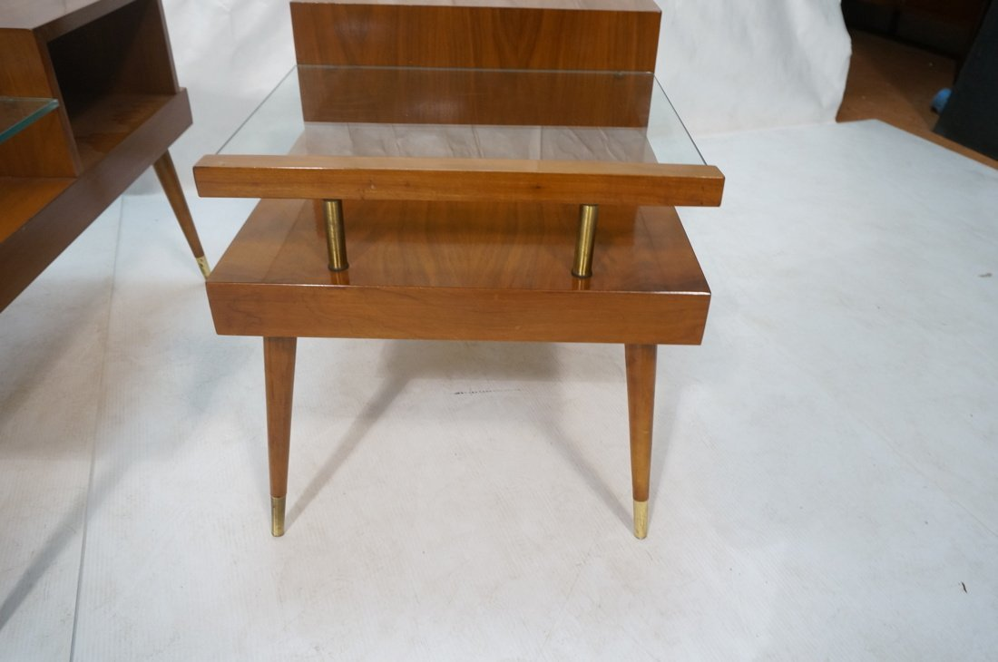 Pr Step Form Side End Tables. Walnut with brass a - 6